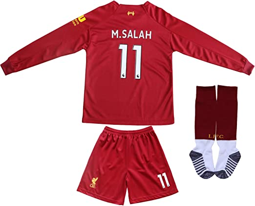 Rhinox Liverpool Salah #11 Youth Soccer Jersey Away Short Sleeve Kit Shorts Kids Gift Set
