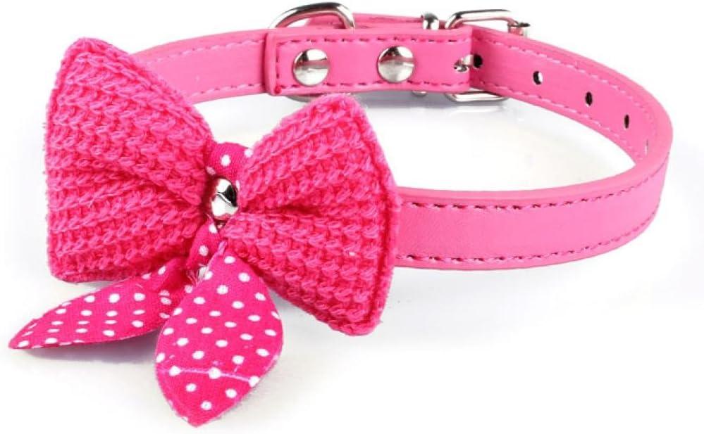Bocideal 1PC Popular Knit Bowknot Ajustable Cuero de la PU Perro Cachorro Mascota Collares Collar (HP)