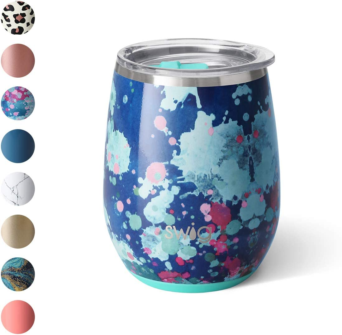 Swig Life 14oz Triple Insulated Stainless Steel Stemless Wine Tumbler with Slider Lid, Dishwasher Safe, Vacuum Insulated Travel Wine Glass in Artist Speckle Print (Multiple Patterns Available)