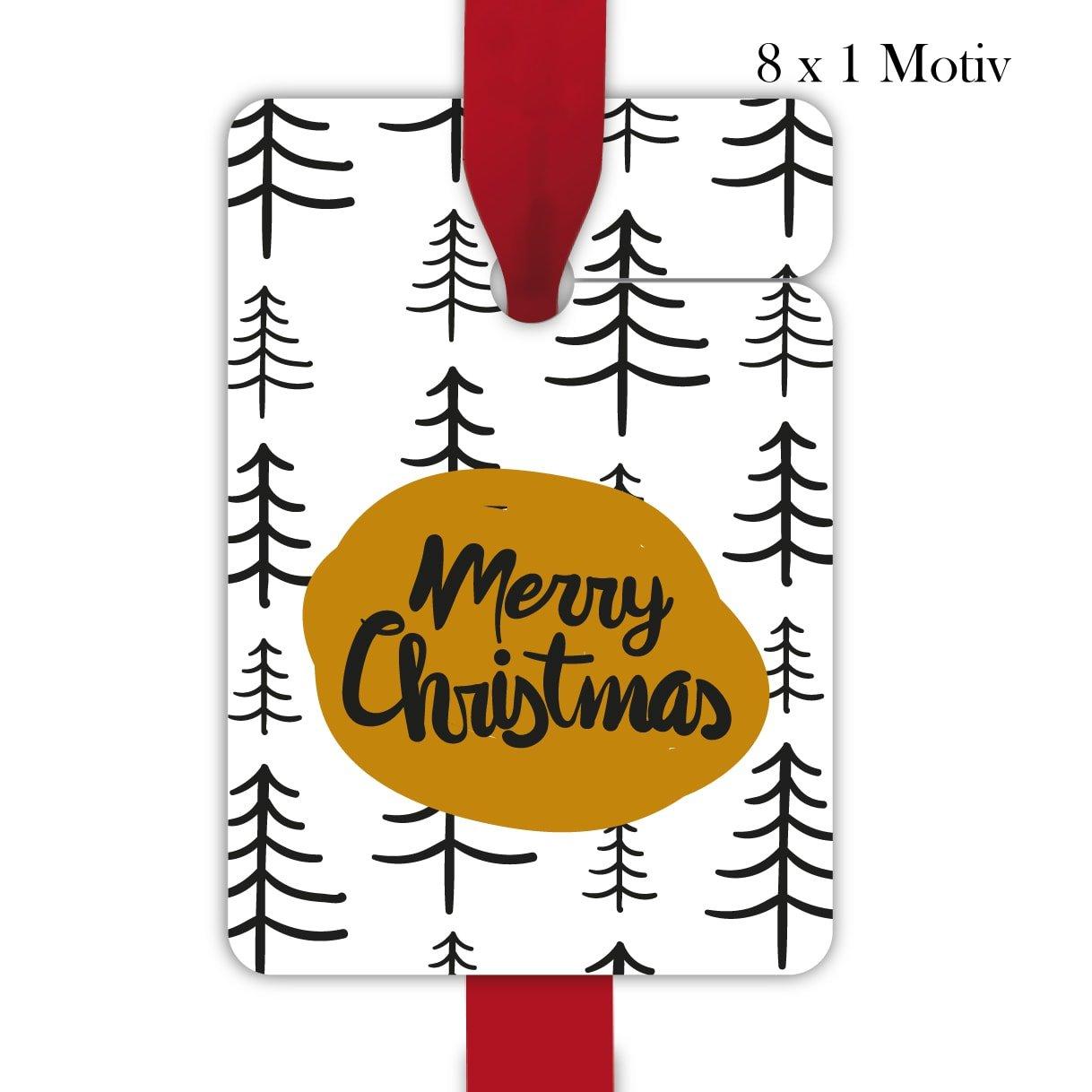 10 x 8 Designer Weihnachts Geschenkanhänger, Geschenkkarten, Papieranhänger, Hänge Etiketten, Tags zu Weihnachten mit Tannen Wald: Merry Christmas, Format 10 x 6,9cm