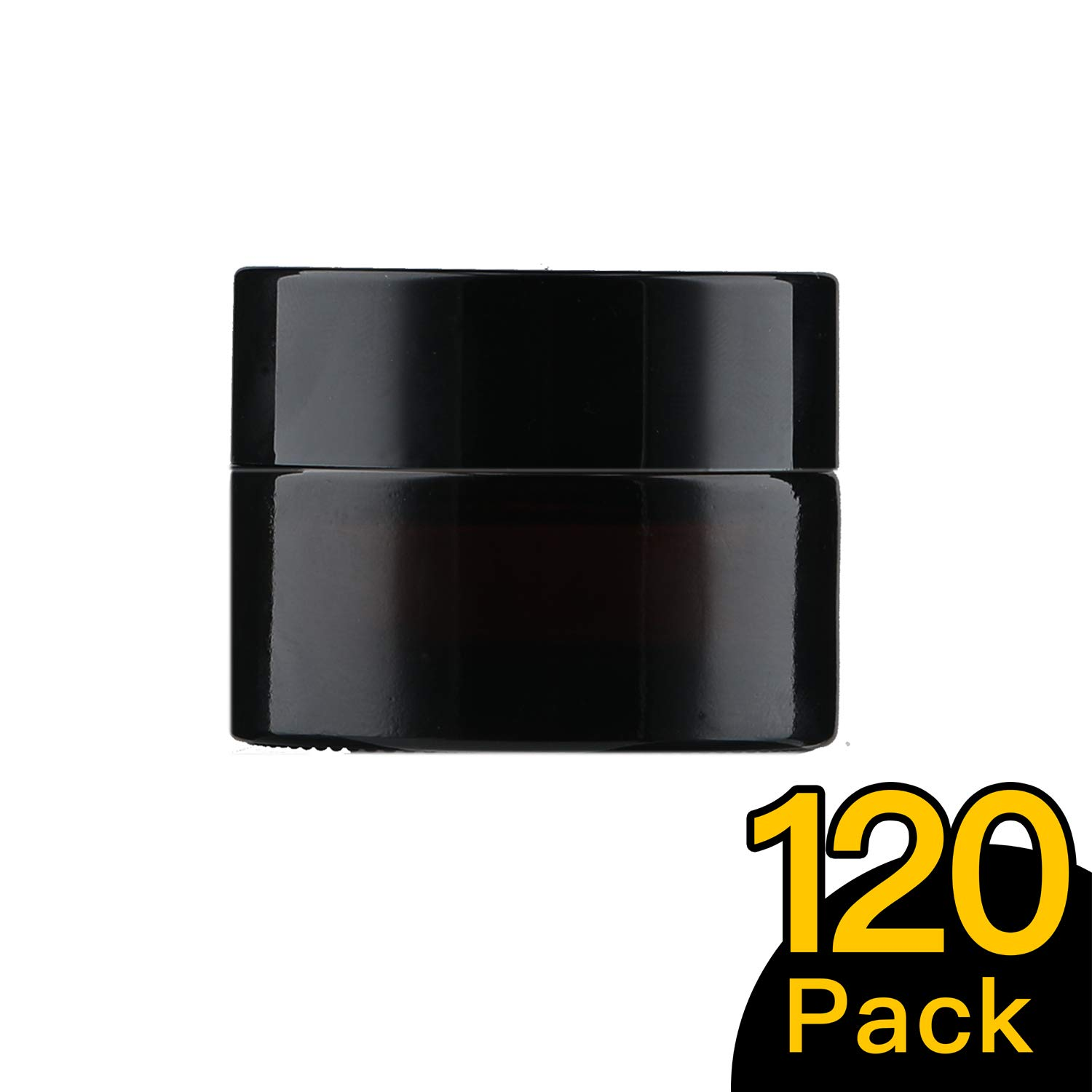 15ml/0.5 oz, 120 Pack Snow Diamond Empty Amber Round Glass Jars, with White Inner Liners and black Lids, High End Glass Containers for Salve Cream, Premium Vials (15ml/0.5 oz, 120 Pack)