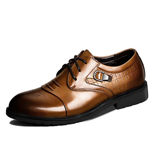 Chaussures À Lacets En Cuir Ailishabroy À Dentelle Robes De Soirée Homme Richelieus (39 Eu, Brun)