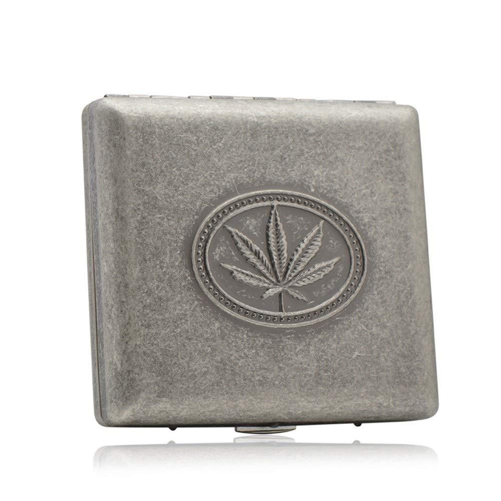 WMM Portable Pocket Cigarette Case, Pure Copper Vintage Silver Smoking Box, Men's Social Gift Can Hold 20 Cigarettes