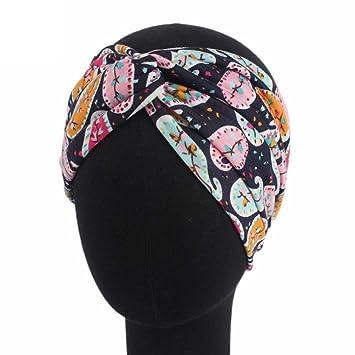 Amazon.com   Headbands for Women Wide Headwear Ladies Boho Floral Sports  Head Warp Hair Band Elastic (Navy)   Beauty ffef5345f6c