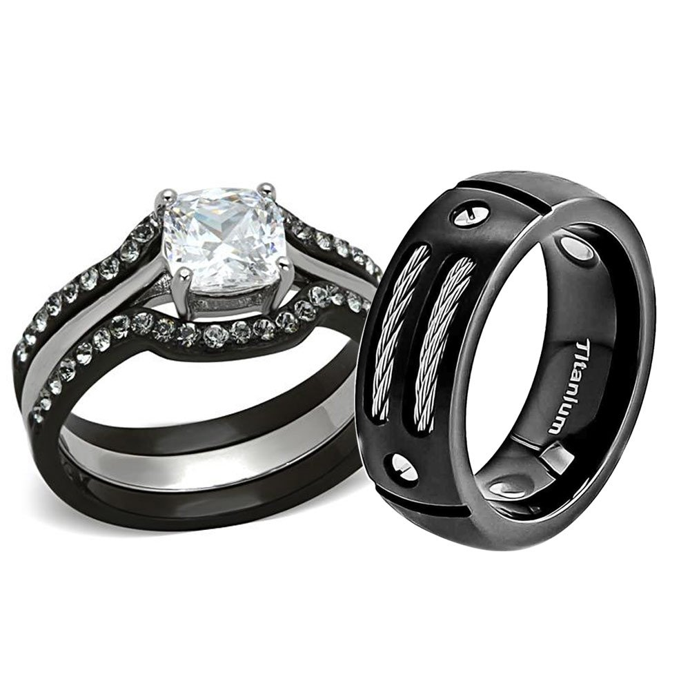 FlameReflection Black Stainless Steel Titanium Cushion Cut Cubic Zirconia His And Hers Wedding Ring Sets 4 pcs dm SPJ
