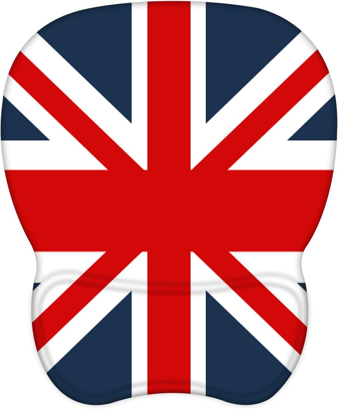 EooCoo Alfombrilla de Ratón con Reposamuñecas de Gel, Base de Silicona Antideslizante y Superficie sedosa, 4mm - Bandera Británica