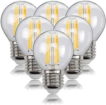 HISAYSY - Bombilla de filamento LED E27, 6 W, G45, 470 lúmenes ...