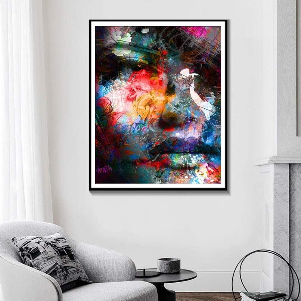 ganlanshu Pintura sin Marco nórdico Colorido Abstracto Acuarela Retrato Lienzo Pintura Sala Cartel Arte de la Pared decoración del hogar ZGQ2632 60X80cm