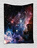 Ambesonne Space Decorations Collection, Stars Nebula Colorful Space Galaxy Astronomic Picture Print, Bedroom Living Room Dorm Wall Hanging Tapestry, Navy Pink