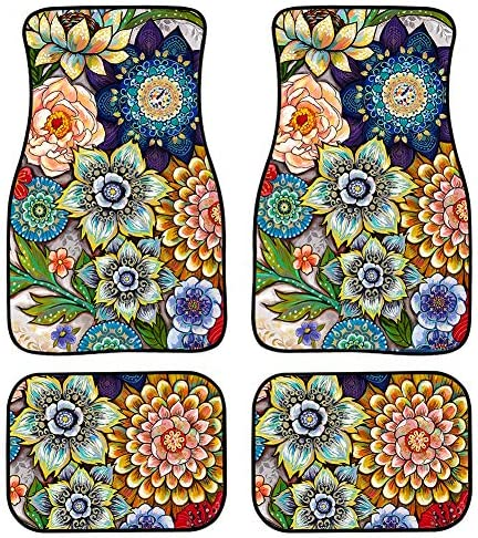 TOADDMOS Decorative Boho Floral Print Car Floor Mats Front & Rear Liners Set,Universal Fit Auto Carpet Floor Mats Set of 4 for Women Girls