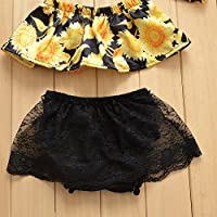 Baby Girl Sunflower Print Strapless Tube Tops Lace Ruffle Shorts Outfit Set