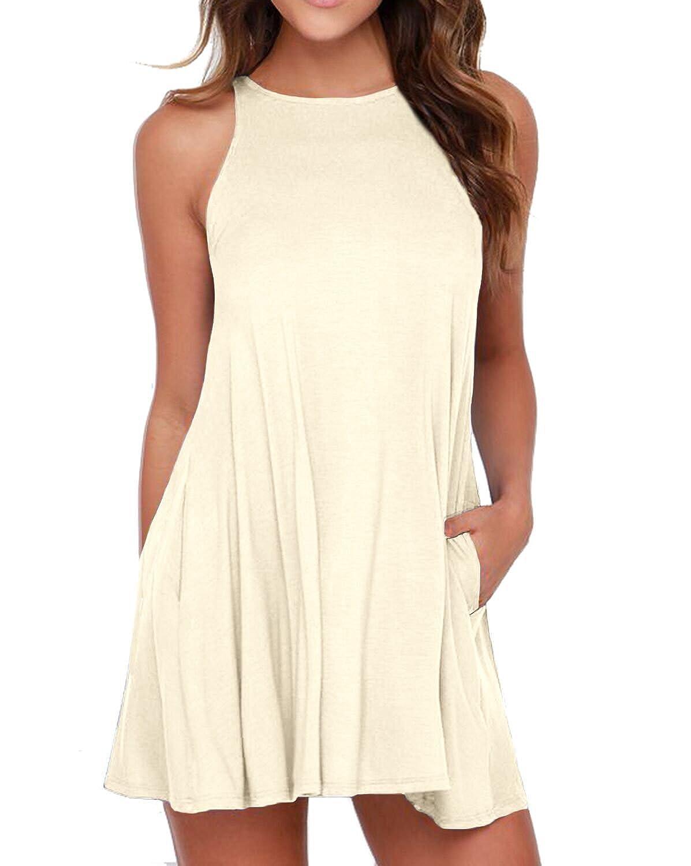 unbranded womenu0027s sleeveless dress pockets casual swing tshirt dresses