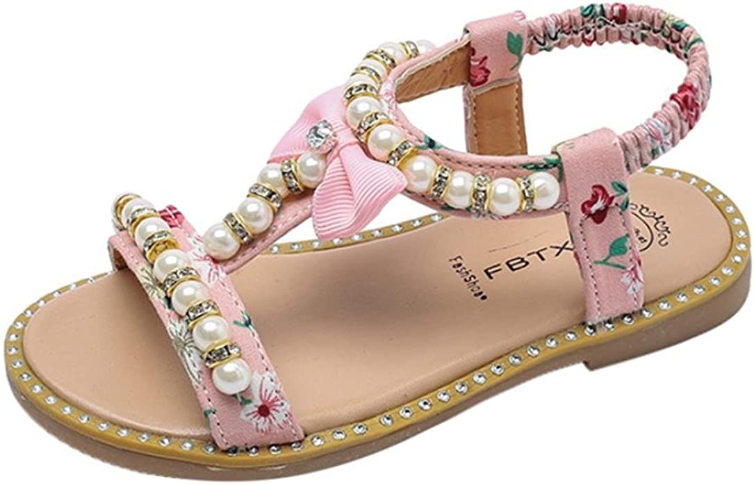 Toddler Infant Girl Summer Casual Bowknot Pearl Crystal Roman Princess Beach Shoes Xmiral Baby Girls Sandals