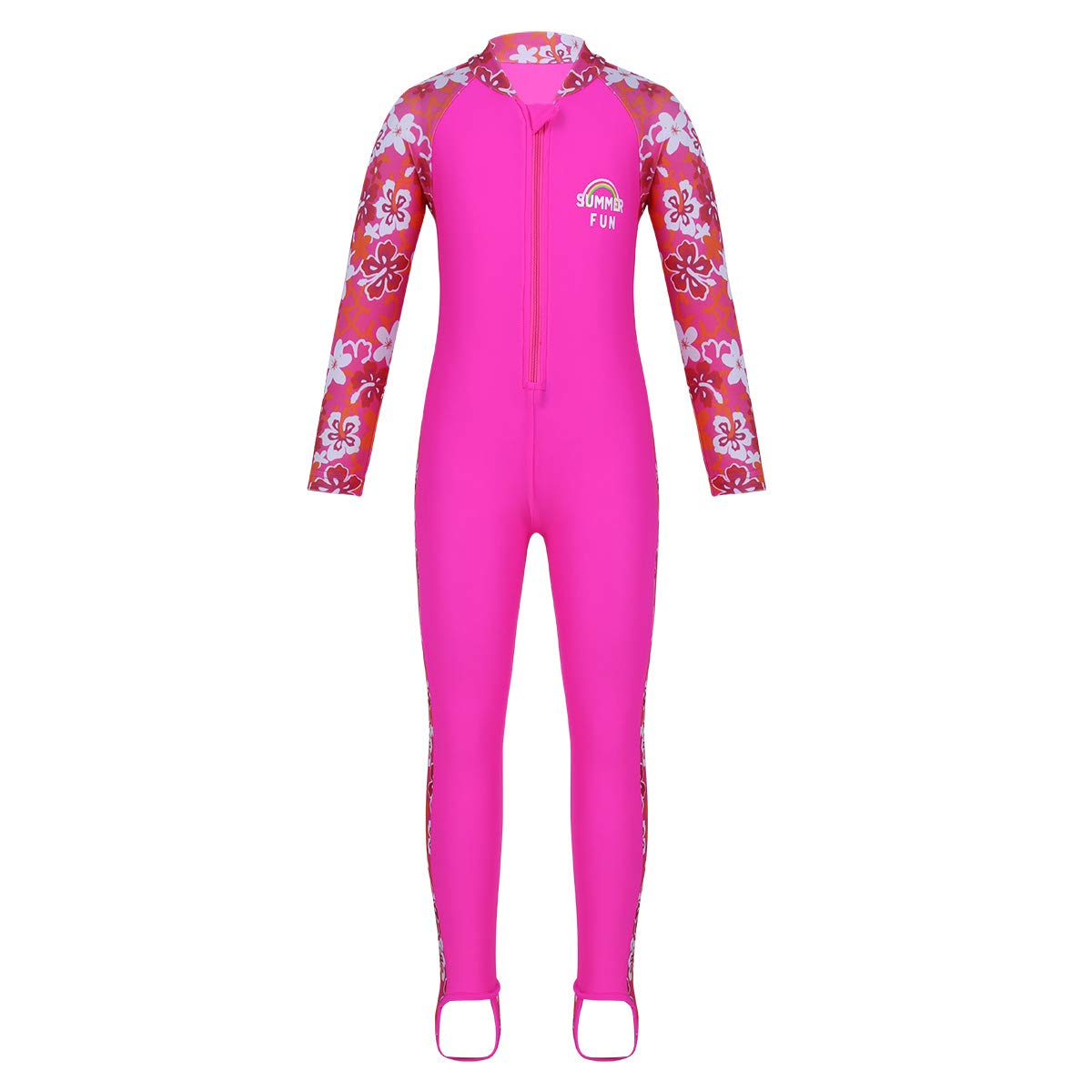Sunsuits moily Girls Kids Floral Long Sleeve One-Piece Rashguard Swimsuit Keep Warm Surfing//Diving UPF 50