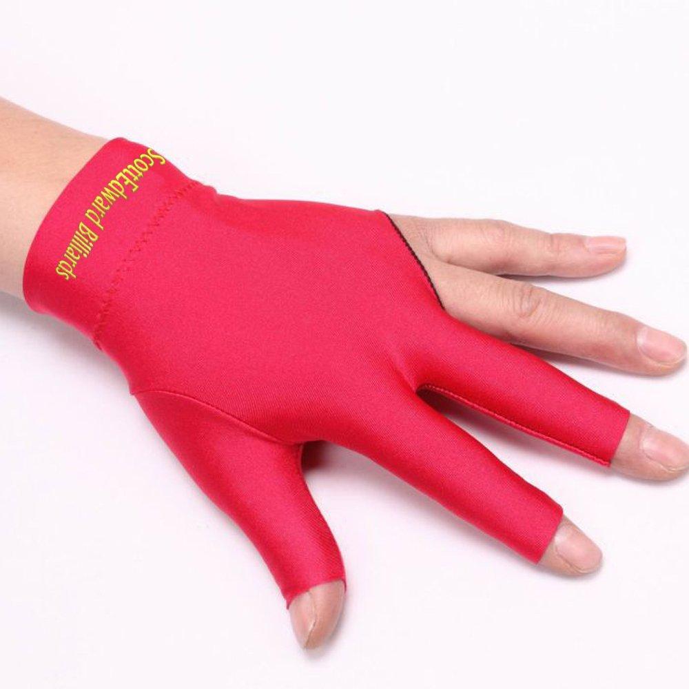 10pcs/Set 3 Finger Billiard Gloves Pool Cue Gloves Spandex Lycra for Left Hand Men/Women, 4 Colors Scott Edward Sports