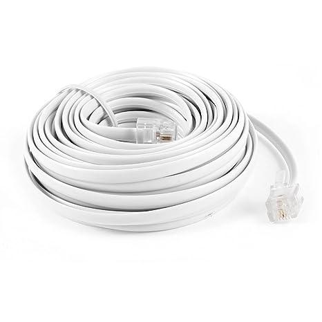 sourcingmap® 9M 30ft RJ11 6P2C Modulare Telefon Kabel Draht-Weiß ...