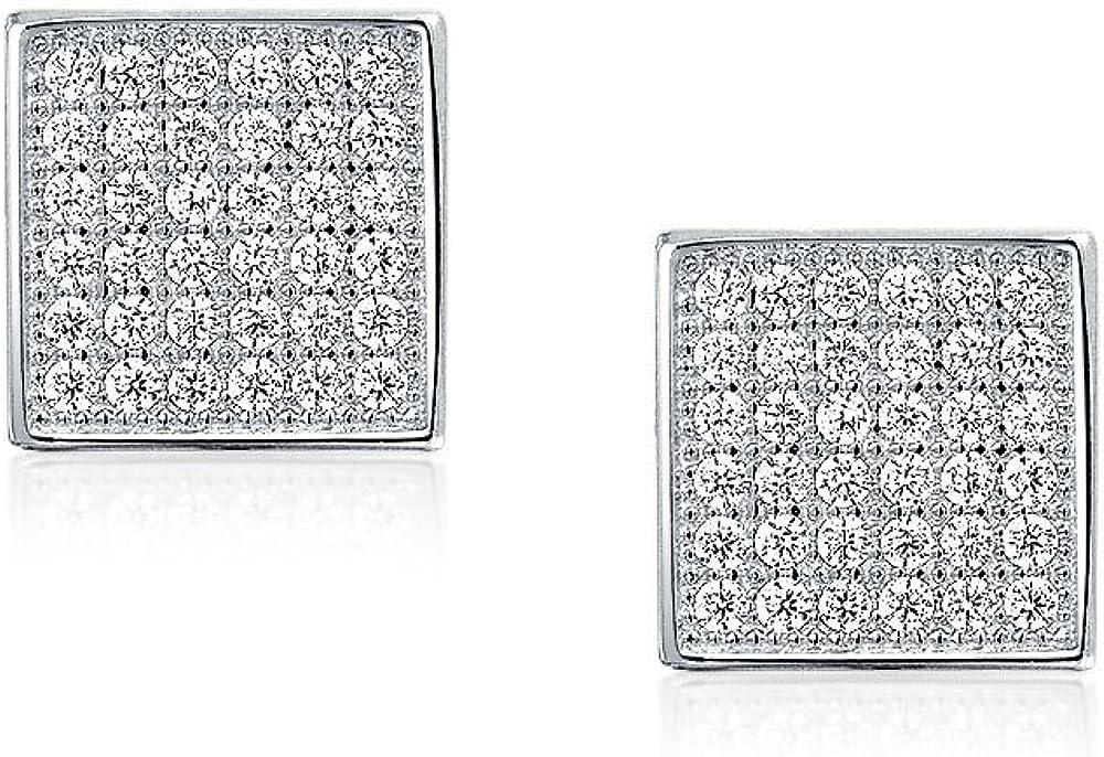 En forme de carr/é g/éom/étrique zircone cubique Micro Ouvrir Stud Earrings Sterling Silver