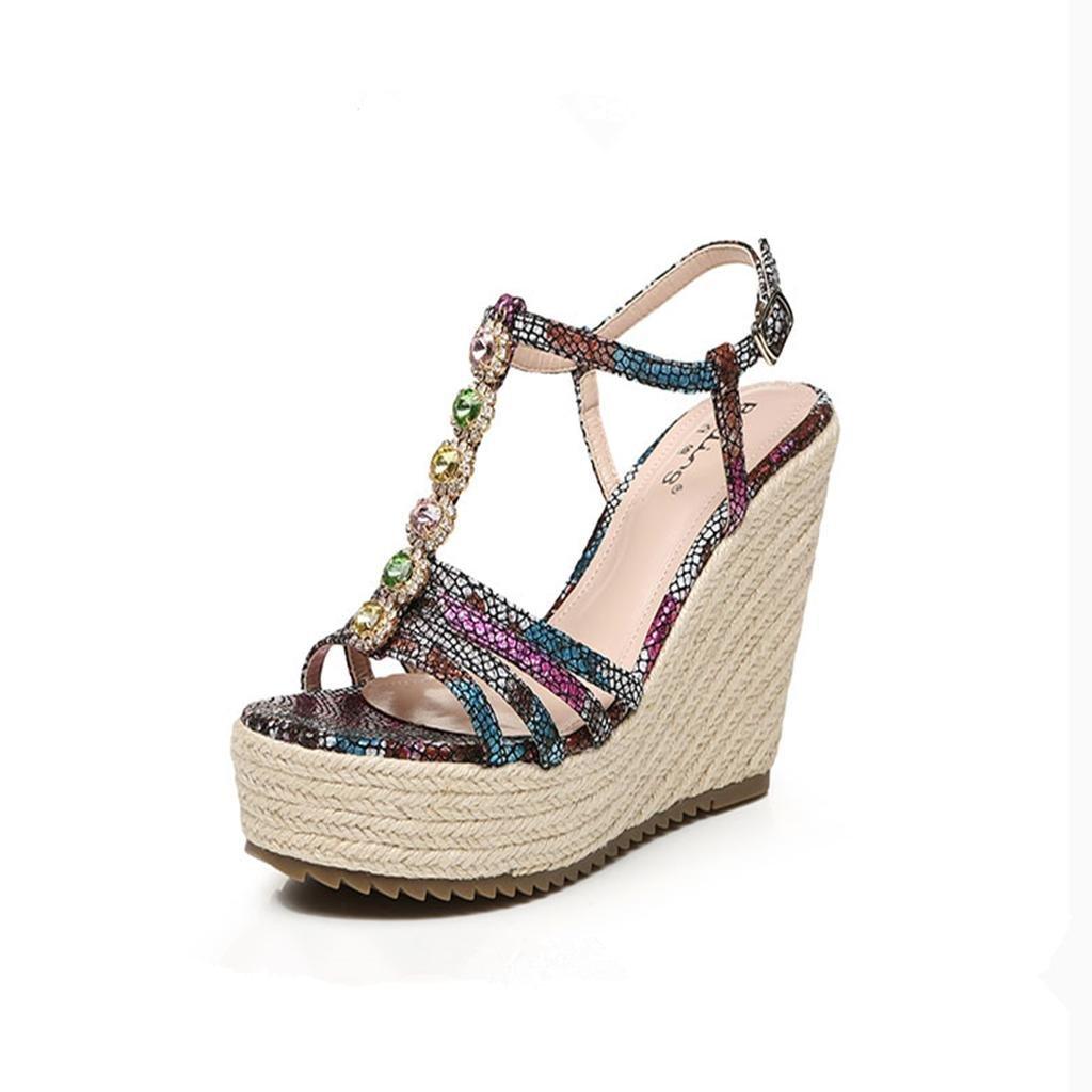 BaiLing Sandali di estate delle delle delle donne cuneo Heel handmade lavorato a maglia paglia impermeabile stampa fondo spessa scarpe di piccole dimensioni, nero, CN33 17fa29