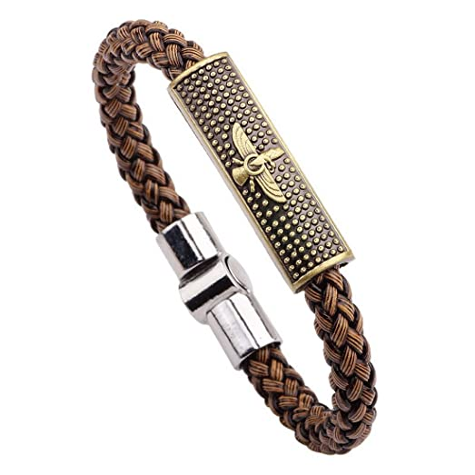 MJARTORIA Mens Retro Halukakah Brown PU Leather Wristband Cuff Wrap Bracelet HDZ4ZC17V