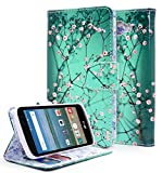 LG K4 Case, Spree / Rebel LTE / Optimus Zone 3 Case, NageBee [Kickstand Feature] Premium PU Leather Flip Fold Wallet Case with [ID&Credit Card Slot] - Plum Blossom
