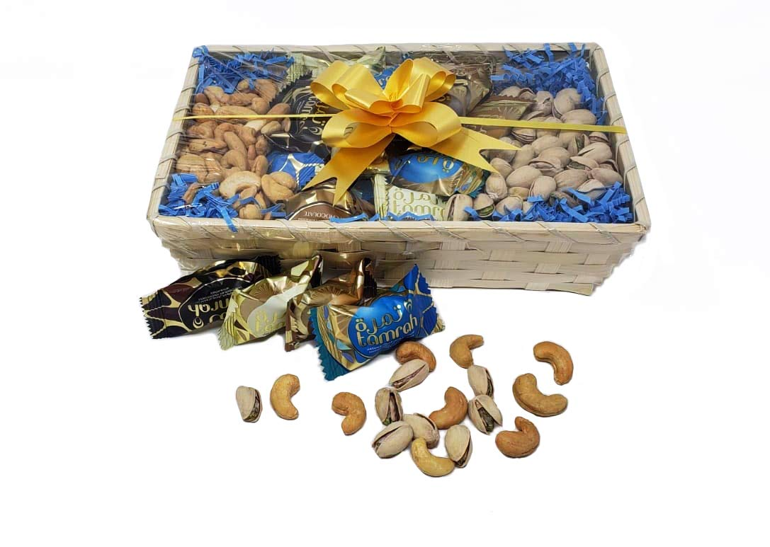 Tamrah Bamboo Gift Box with Chocolate Covered Dates - Assorted Dates with Chocolate - Milk Chocolate, Dark Chocolate, Caramel Chocolate, & Coconut Chocolate - Gourmet Dates with Nuts & Chocolate