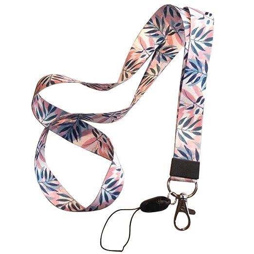 Ogquaton Correa de teléfono móvil Correa de Cuello de cordón de Flores para Llaves Tarjeta de identificación S para Soporte de Placa USB DIY Cuerda ...