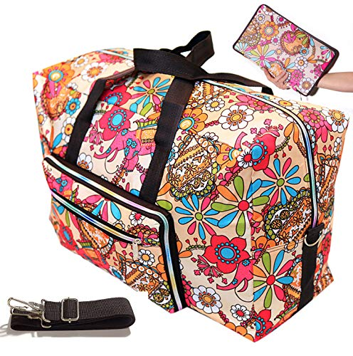 Womens Foldable Travel Duffel Bag 50L Large Cute Floral Travel Bag Hospital Bag Weekender Overnight Carry On Bag Checked Luggage Tote Bag For Girls Kids (sun flower)