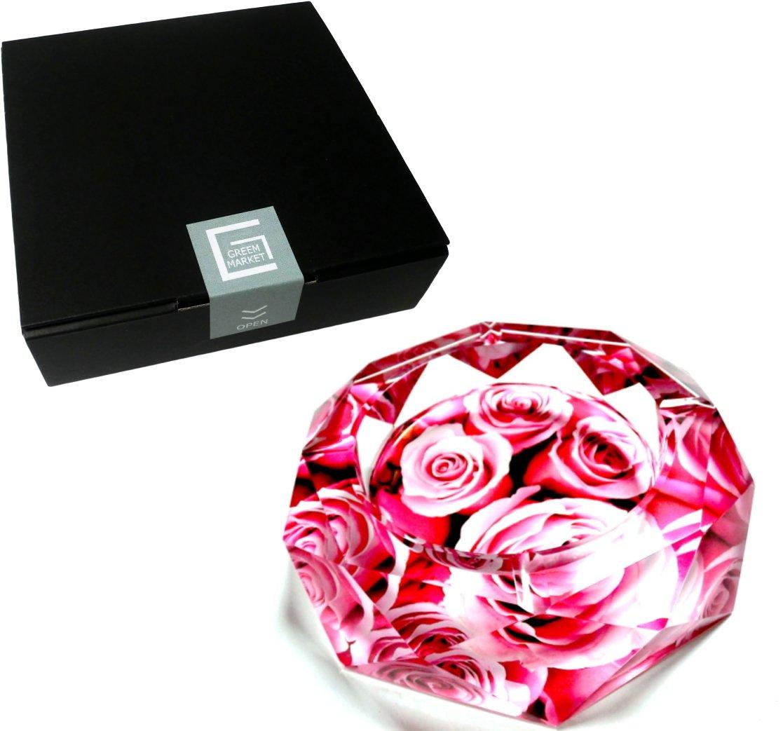 GREEM MARKET(グリームマーケット) 八角形 オクタゴン 多角形 卓上 薔薇 ローズ 花 花柄 ピンク 高級 クリスタルガラス ガラス製 灰皿 品番:GMS00643(20cm) B077M6KRJH 20cm 20cm