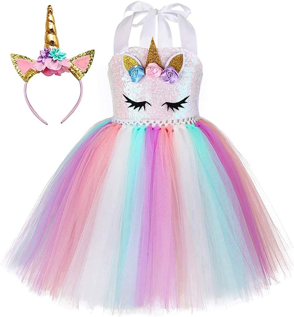 Tutu Dreams Unicorn Costume for Girls 1-12Y with Headband 4 Designs