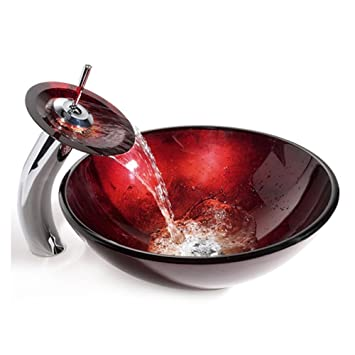 HomeLava Lavabo Vasque en Verre Trempé Rouge, avec Robinet Cascade à poser  la salle de bain
