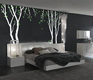 """Innovative Stencils Large Wall Birch Tree Decal Forest Kids Vinyl Sticker Removable with Leaves Branches #1119 (96"""" (8ft) Tall, White Trees - Green Leaves)"""