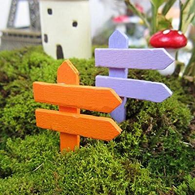 Cloudga 10pcs Mini Accessories Scenery Pots Ornament Plant Label Wooden Fence Garden Signpost