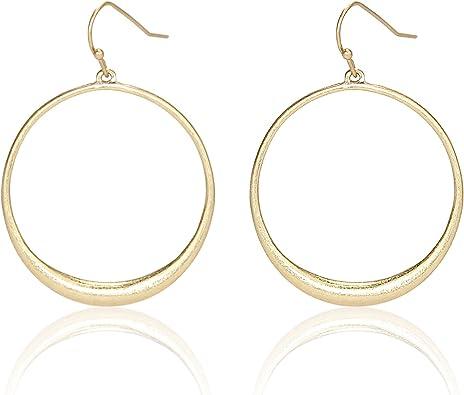 Pomina Lightweight Textured Open Circle Drop Earrings