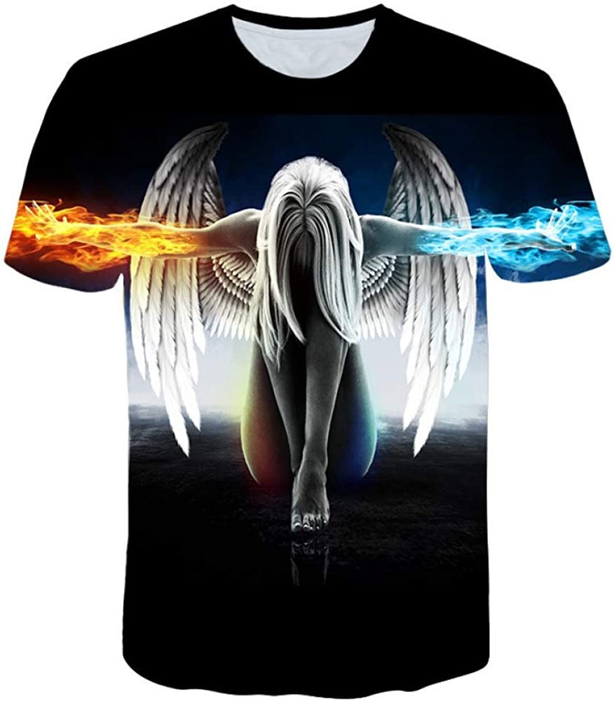 HNOSD Camiseta Hombres/Mujeres Verano 3D Camiseta impresión ángel Camiseta Tops Camisetas: Amazon.es: Ropa y accesorios