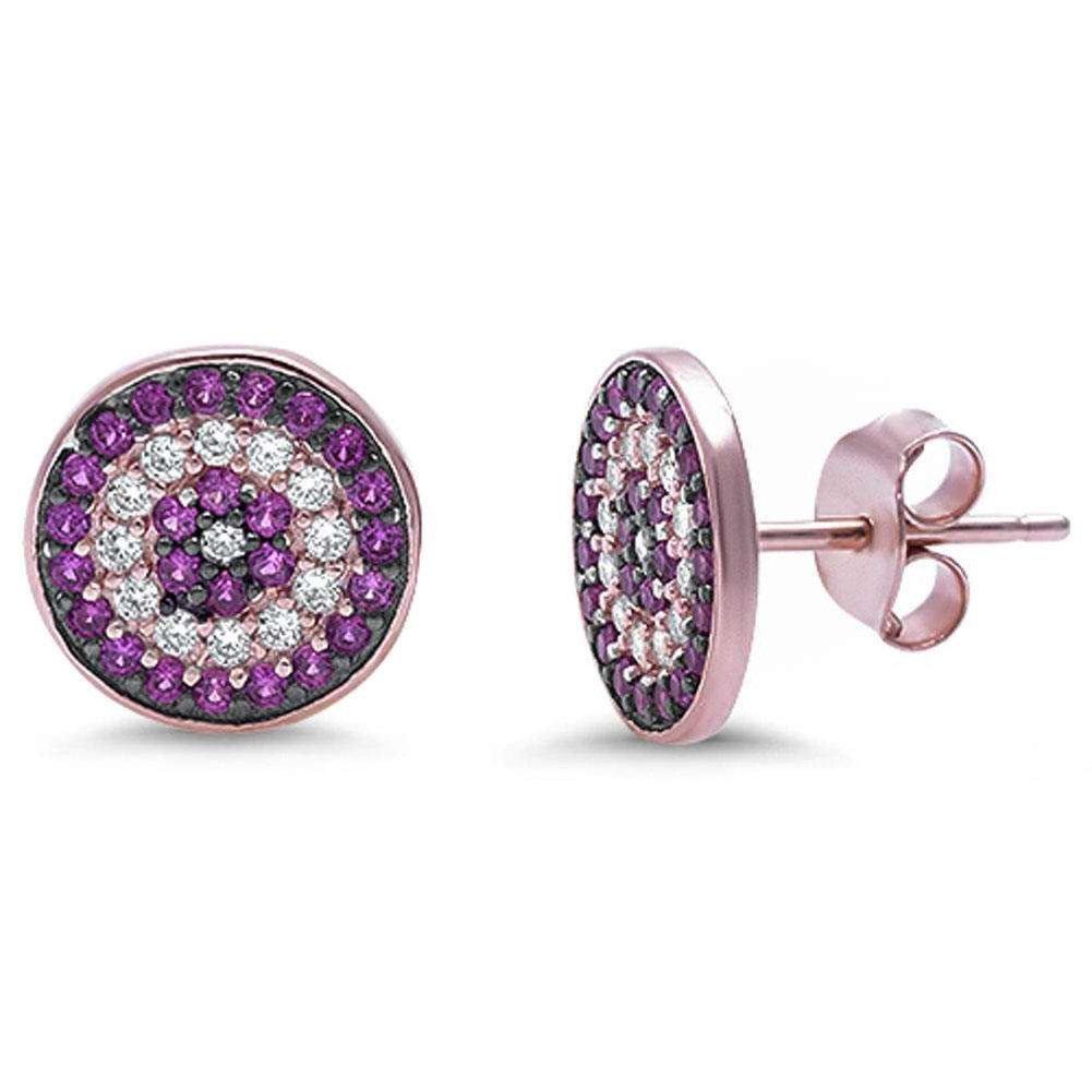 10mm Evil Eye Earrings Rose Tone Rhodium Plated 925 Sterling Silver Round CZ Eye Stud Earring Choose Color