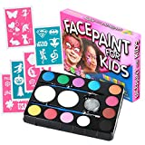Face Paint Kit with 30 Stencils: 12 Color Palette for Kids: 2 Brushes, 2 Sponges + Glitter Gel. Best Quality Professional Face Painting Party Set. Safe, Non-Toxic, Water-based, BONUS Online Guide
