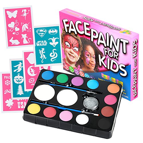 Face Paint Kit with 30 Stencils: 12 Color Palette for Kids: 2 Brushes, 2 Sponges + Glitter Gel. Best Quality Professional Face Painting Party Set. Safe, Non-Toxic, Water-based, BONUS Online Guide (Aqua Colors Face Paint compare prices)