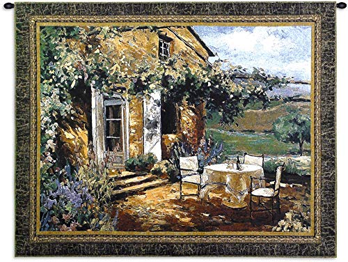 (Vineyard Villa | Woven Tapestry Wall Art Hanging | Impressionist Tuscan House with Vibrant Landscape | 100% Cotton USA Size)