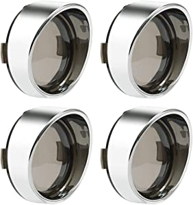 "PBYMT 4pcs Smoke Turn Signal Lens Cover 2"" Bullet Visor-Style Chrome Bezels Compatible for Harley Davidson Dyna Street Glide Road Softail Custom Cruiser 2000-2019"