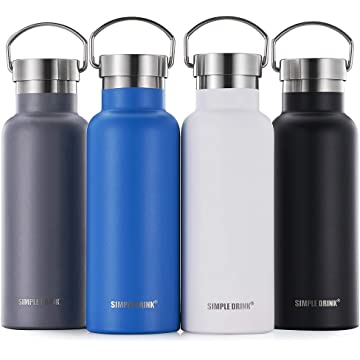 SIMPLE DRINK Stainless Steel Insulated Water Bottle - Cold 24 Hrs & Hot 12 Hrs | Reusable Wide Mouth Metal Flask with Portable Strong Cap for Sports Travel, Leak Proof