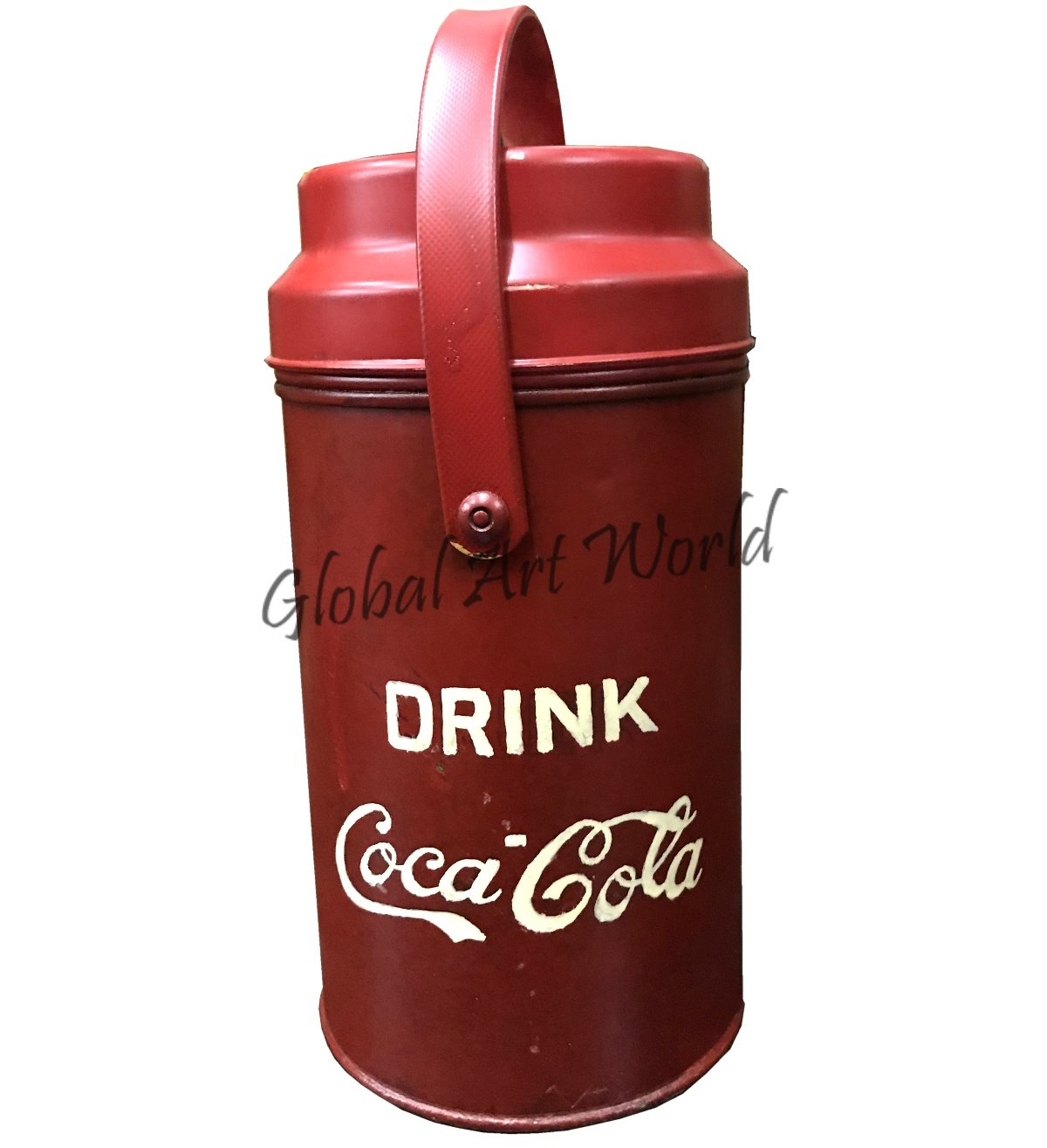 Global Art World Antique Old Collectible Portable Cylindrical Shape Carrier Coca Cola Drinks Metal Bottle Thermos With Logo Embossed HB 0169 by Global Art World (Image #4)