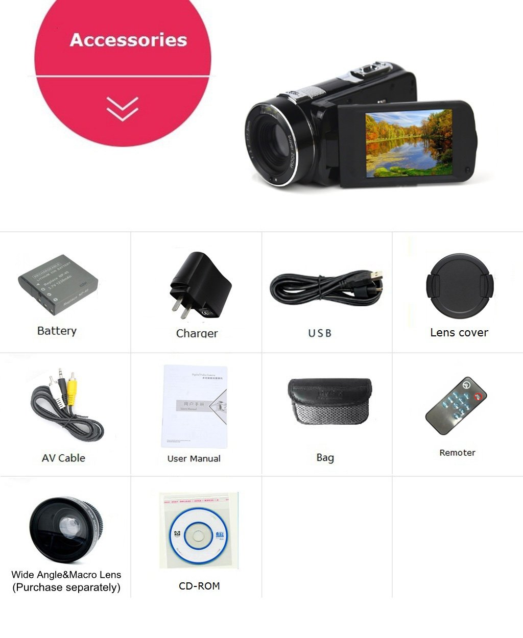 SEREE HDV-M6 Full HD 1080P Beauty Face Max. 24MP DIS Face Detection Elegant Appearance Self Timer Camcorder FHD Video Camera (HDV-M6) by SEREE (Image #7)