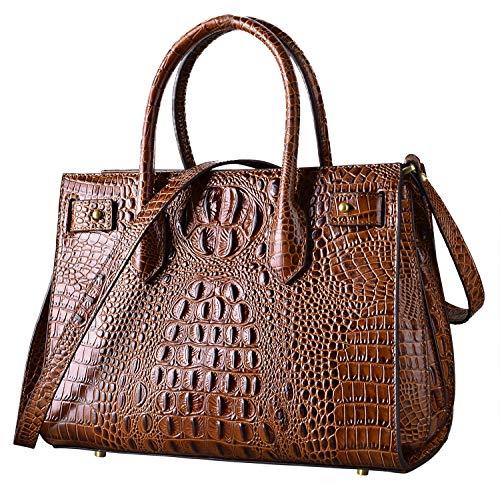 - PIFUREN Top handle Leather Handbags for Women Satchel Handbags Designer Crocodile Bags (brown)