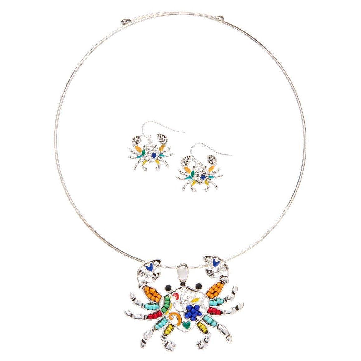 Bleek2Sheek Aztec Multi-Color Rainbow Mosaic Crab Fashion Necklace and Earring Jewelry Set