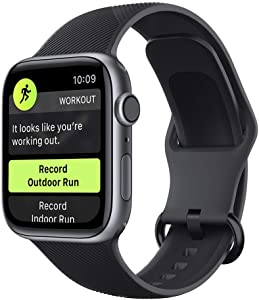 elkson Sport Band Compatible with Apple Watch Series 6 SE Band 42MM 44MM Ultra Light Soft Liquid Silicone Rubber Replacement Strap Series 5/4/3/2/1 (44mm Black)