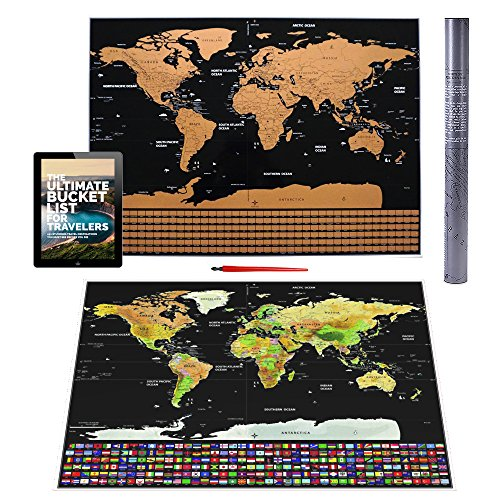The Wolfs House Scratch Off World Map Poster   Large Wall Map With Scratch Pen  Travel E Book  Country Flags   Us State Borders   Easy To Scratch   Perfect Gift For Travelers   Track Your Travels