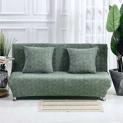 Monba - Funda de sofá Cama con patrón de Lino, Plegable, sin Brazos, con diseño de futón, poliéster, Pino Verde, XL:195-225cm