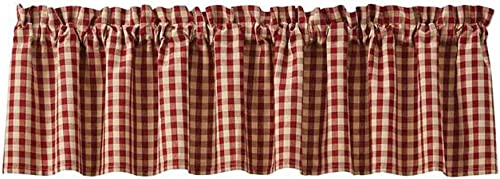 Park Designs Crochet Wine White Gingham Lined Valance, 72W x 14L