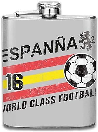 Euro Fútbol España España Bola Gris Estampado Cadera Frasco Botella De Bolsillo Flagon Portátil De Acero Inoxidable Flagon 7OZ: Amazon.es: Hogar
