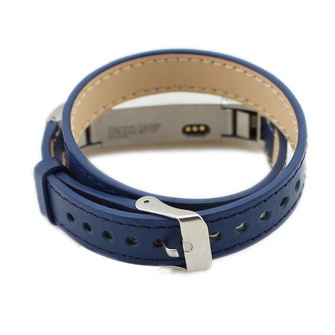 newkelly Double Tourレザー腕時計バンドストラップブレスレットfor Fitbit ALTA HR ブルー ブルー B07B51JLZ4